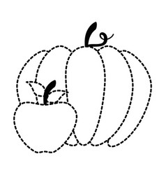 pumpkin and apple fresh isolated icon vector image