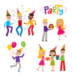 set of friends having fun at birthday party vector image