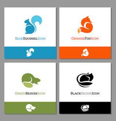 squirrel fox beaver and skunk logo vector image vector image