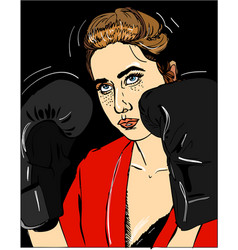 young beautiful girl with boxing gloves on black vector image