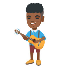 african boy singing and playing acoustic guitar vector image vector image