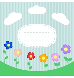 Background with flowers and frame for scrapbook vector image