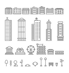 black thin line city elements vector image vector image