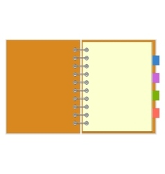 Blank spiral notebook with colorful bookmarks vector image vector image