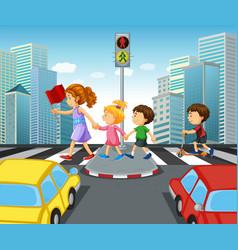 children crossing street in city vector image vector image