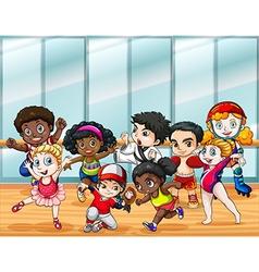 Children in different sport costumes vector image