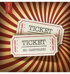 cinema tickets on retro rays background vector image
