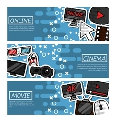 Set of Horizontal Banners online cinema vector image