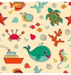 Sea life seamless pattern vector image
