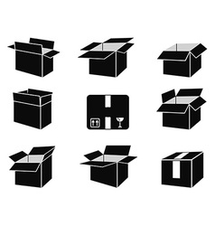 shipping box icons vector image