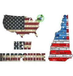 USA state of New Hampshire on a brick wall vector image vector image