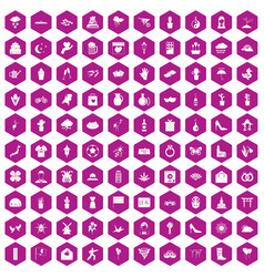 100 flowers icons hexagon violet vector image