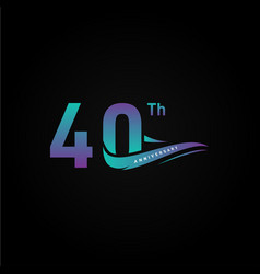 40th ribbon anniversary gradient numbers vector