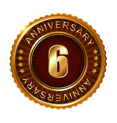 6 years anniversary golden brown label vector image