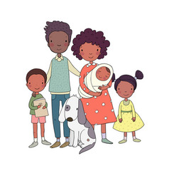 African american happy family parents vector