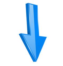 Arrow down straight blue 3d shiny sign vector