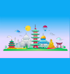 Asian countries - line travel vector