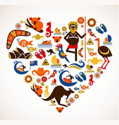 Australia love - heart with set icons vector