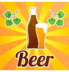 Beer bottle poster vector image