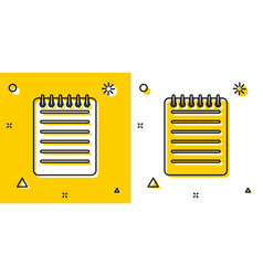 Black notebook icon isolated on yellow and white vector