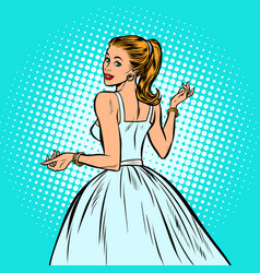 Bride beautiful woman in a white dress vector