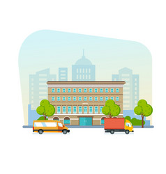 building of beautiful modern hotel of streets city vector image