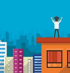 Businessman happy success vector