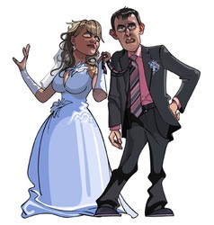 caricature cartoon groom and bride vector image