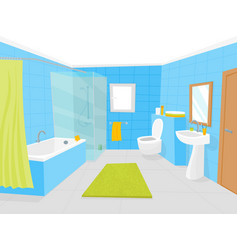 Cartoon bathroom interior with furniture card vector