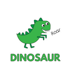 cartoon dinosaur flashcard for children vector image