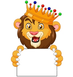Cartoon king lion holding blank sign vector