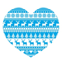 Christmas card with heart- blue Nordic pattern vector image vector image