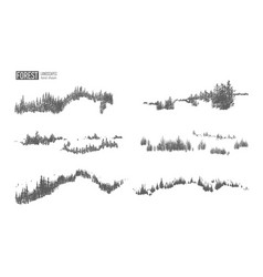 collection of evergreen forest landscapes with vector image