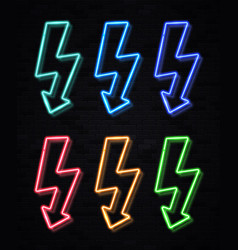 color lightning bolt neon sign set on black wall vector image