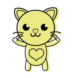Color smile cat cute feline animal vector