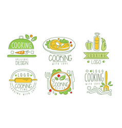 cooking time logo design collection cooking class vector image