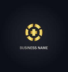 Cross medic round gold logo vector