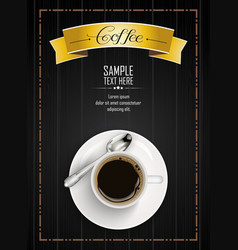 cup of coffee with yellow ribbon and spoon vector image vector image
