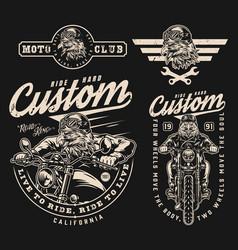 Custom motorcycle vintage labels set vector
