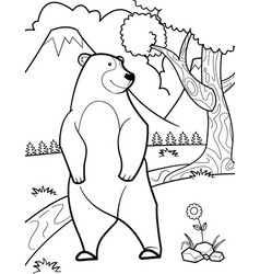 Cute bear coloring pages vector