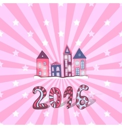 Cute New year background doodle sweet vector