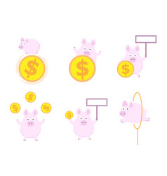 cute pig with money coin flat design vector image