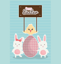 cute rabbits with easter eggs painted and chick vector image