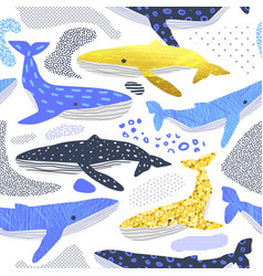cute whales seamless pattern childish background vector image