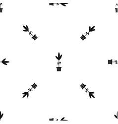 decoration plant on pot pattern seamless black vector image