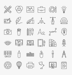 Designer line icons set vector