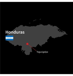 Detailed map of Honduras and capital city vector