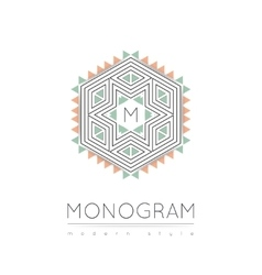 Elegant linear abstract monogram logo design vector