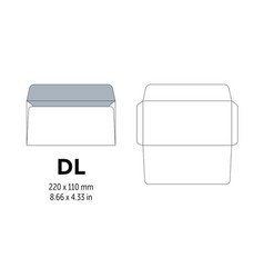 envelope dl template for a4 a5 paper with cut vector image