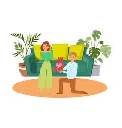 Family concept with young couple angry wife after vector